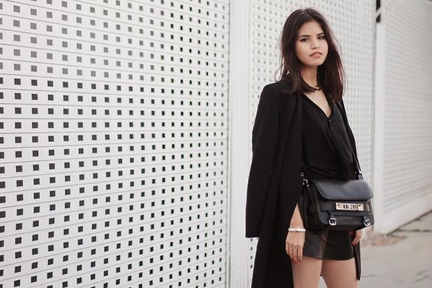 Le look de la semaine : Fake Leatherclassic-leather-shorts-black-outfit-ootd-coat-alice-olivia-wedges2